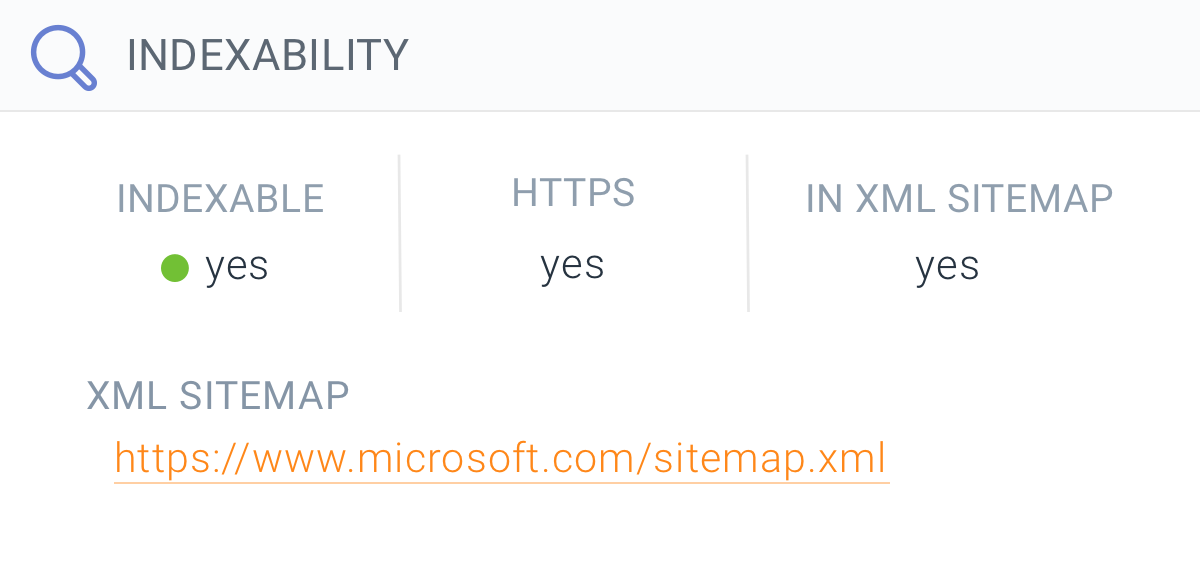 Indexability section on Page detail in ContentKing showing the XML sitemap in which the page is included
