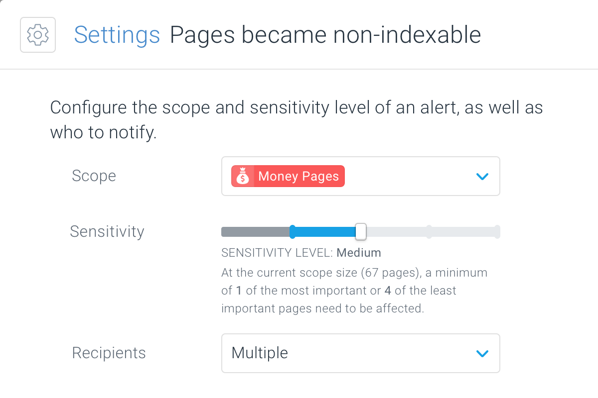 Modal for editing an alert definition in ContentKing showing how many pages need to be affected for the alert to open