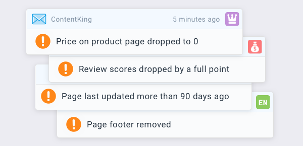 Examples of alerts that are triggered when custom elements on pages that ContentKing monitors change, e.g. when price on product page drops to 0 or reviews scores drop by a full point