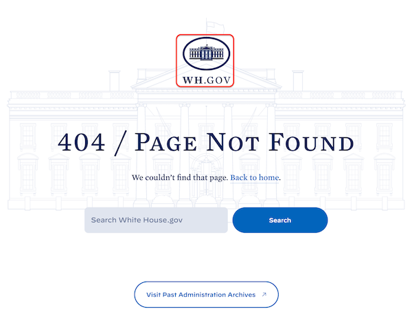 Screenshot of White House website's 404 page