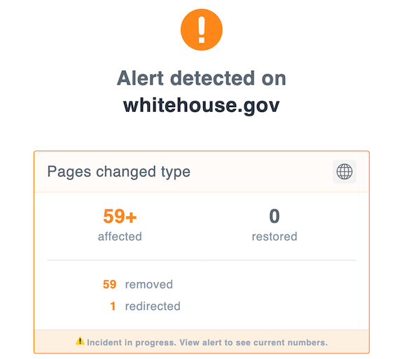 Screenshot of ContentKing Alert Pages Changed Type for Whitehouse.gov