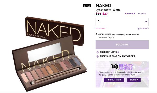Screenshot - Naked Palette's discontinued product page