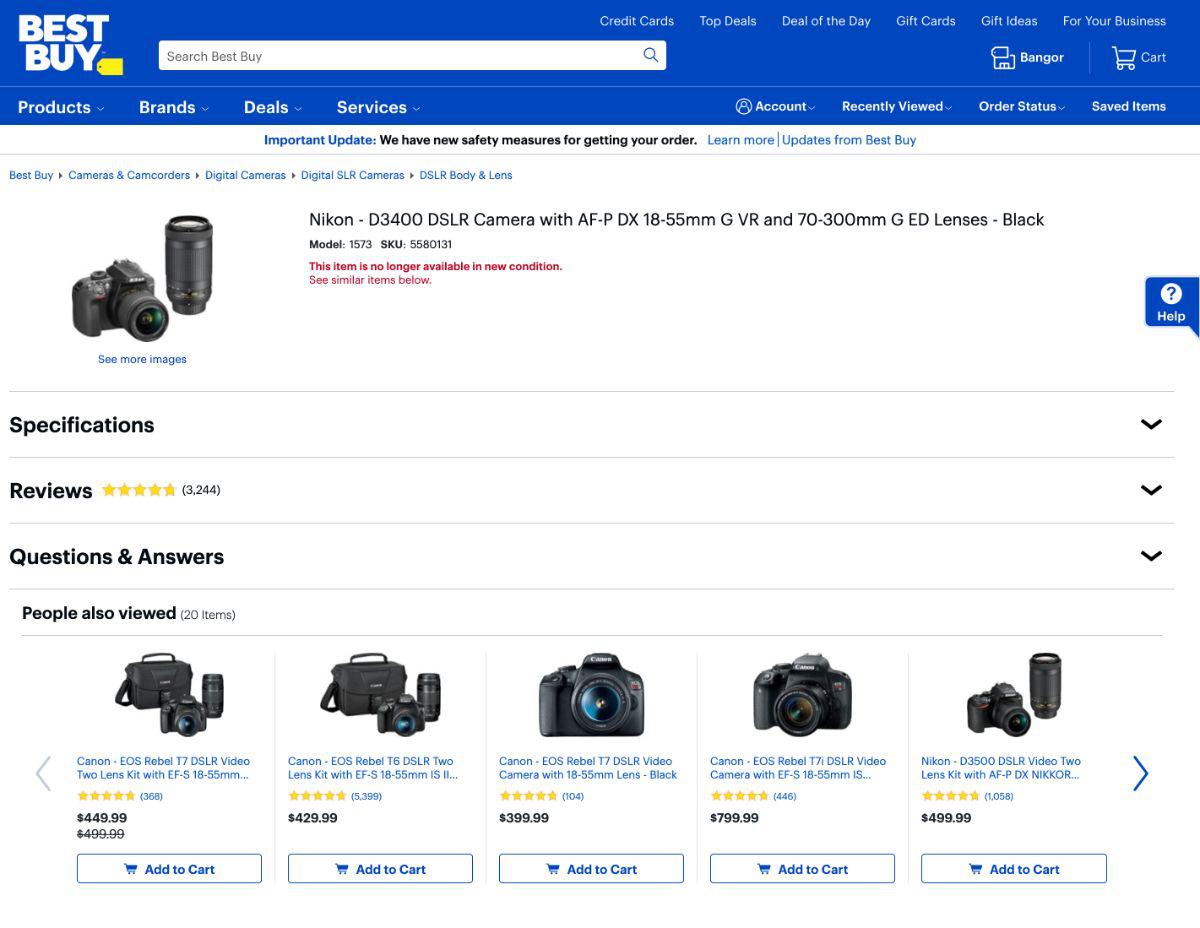 Screenshot van een pagina met een uitverkocht product van Nikon D3400