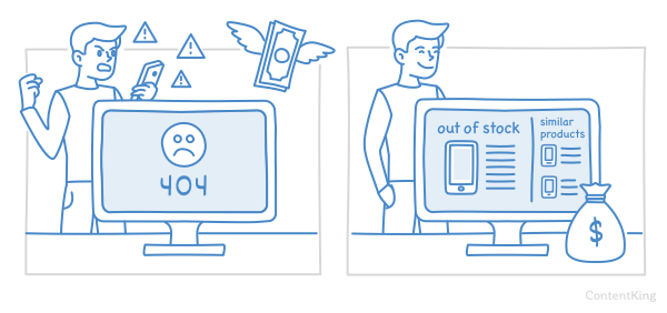 Illustration — website owners with discontinued product pages