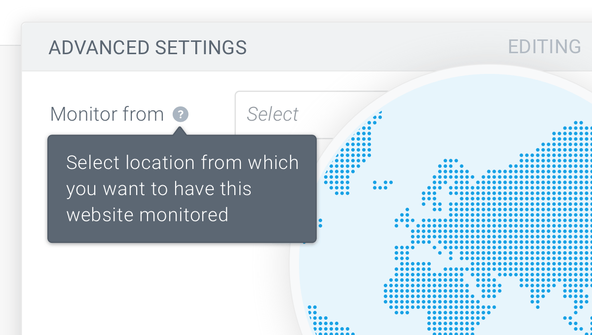 Setting of the monitoring location of a website in ContentKing
