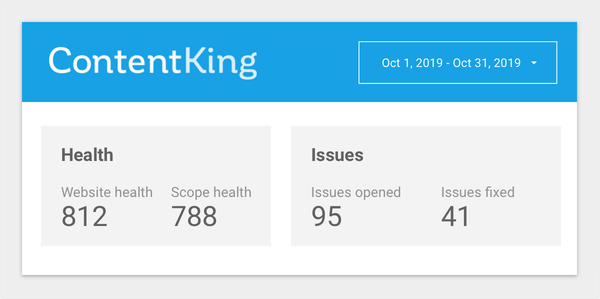 Screenshot of ContentKing report in Google Data Studio