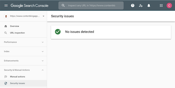 No security issues reported in Google Search Console