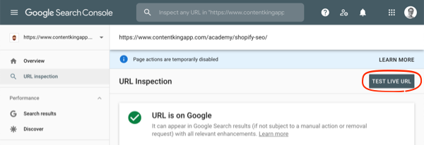 Screenshot of the URL Inspection interface showing the test live URL feature