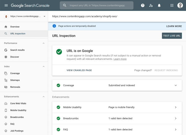 Interface screenshot from Google Search Console's URL Inspection tool