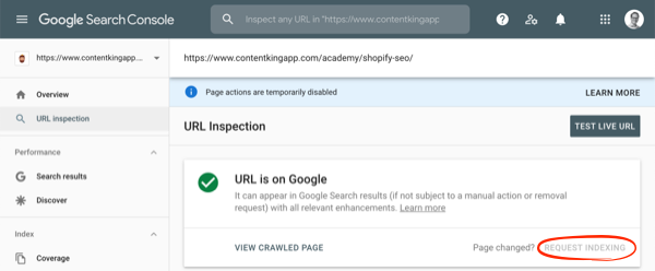 Screenshot of Google Search Console's Request Indexing feature