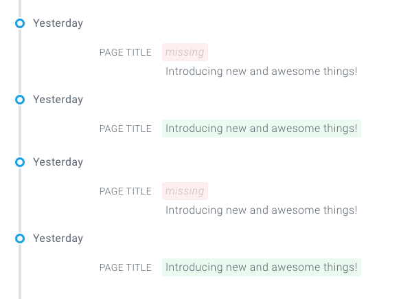 Tracked Changes on Page detail in ContentKing showing alternating versions of a page - one with a title and the other one without the title