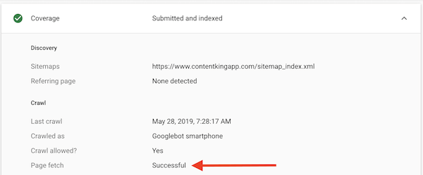 Screenshot of Google Search Console showing that fetching a URL was successful.