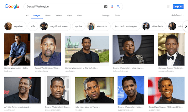 Google Images search result page for Denzel Washington