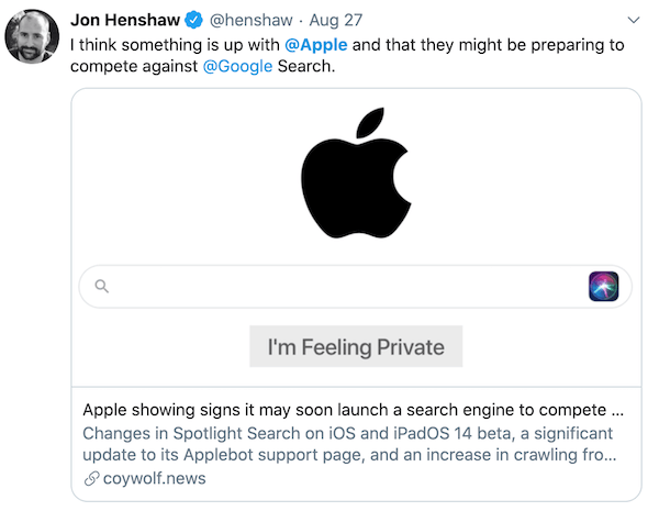 Jon Henshaw thinks Apple is about to launch their own search engine