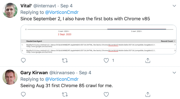 More people noticed the Chrome 85 user-agent