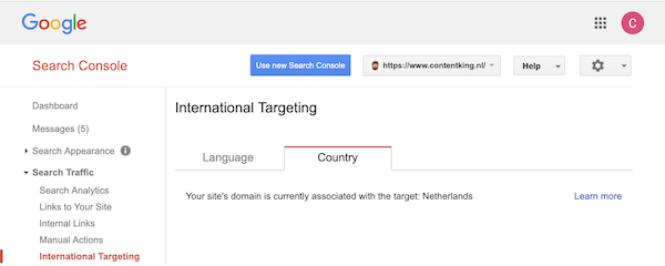 Google Search Console just shows the language preferences for a ccTLD domain