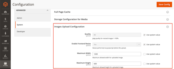 Screenshot of Image Upload Configuration in Magento 2