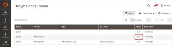 Screenshot of the Design Configuration screen in Magento 2