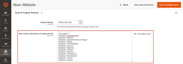 Screenshot of the robots.txt instructions field in Magento 2