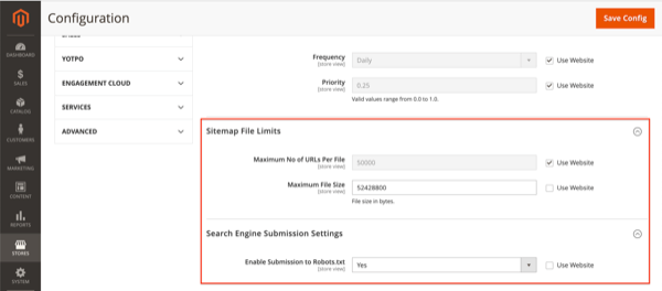 Screenshot of the XML sitemap file limit and robots.txt settings in Magento 2