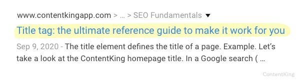 An example of meta title tag used for ContentKing