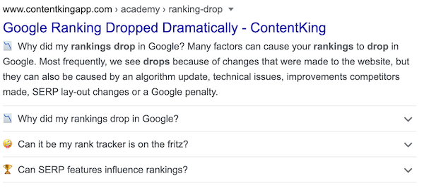 Enhanced snippet of ContentKing's Ranking Drop article with FAQ Schema