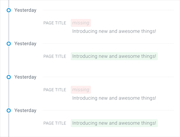 Two alternating versions of a page title in Tracked Changes in ContentKing