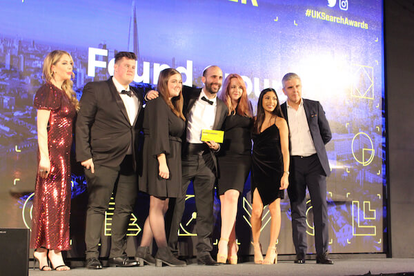 The Found team winning an award at the UK Search Awards