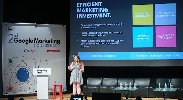 Hannah Thorpe on stage speaking at the Marketing Week conference