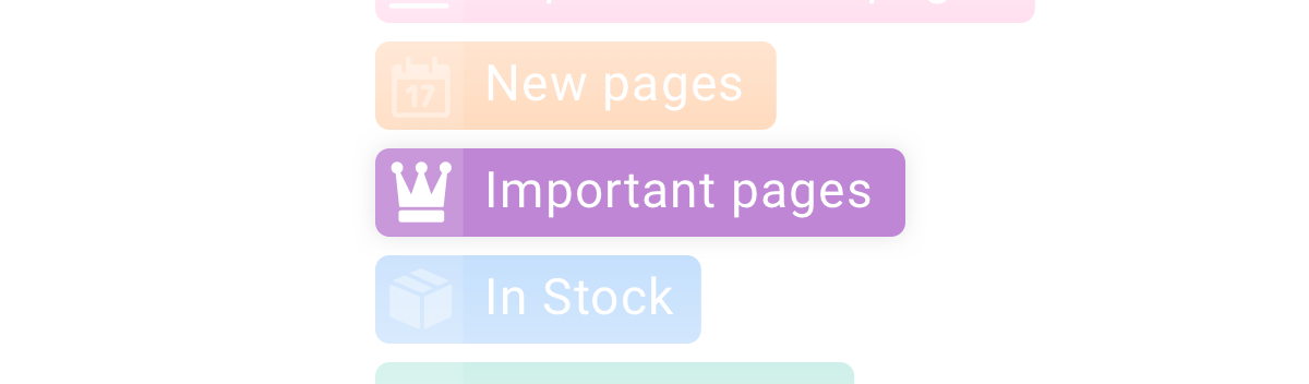 Segment label for the pages with the most important pages in ContentKing
