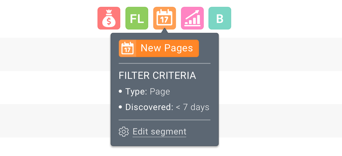 Tooltip with all segment details that is shown when hovering on a segment label in ContentKing