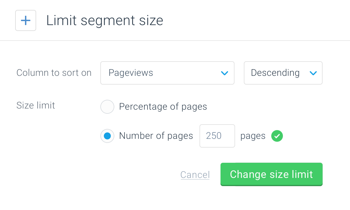 Segment limited to contain only the top 250 most viewed pages shown in the Segment editor in ContentKing