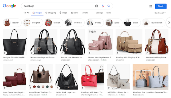 Google Images search as start of customer journey