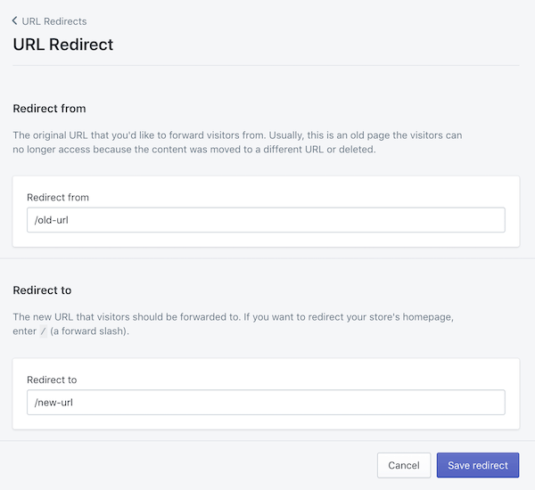 Managing redirects in Shopify