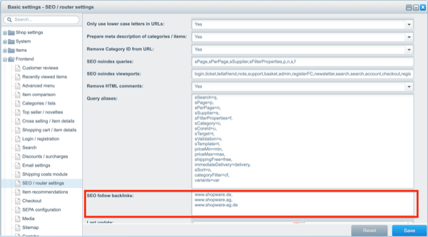 Screenshot of Shopware's settings about what external links shouldn't be marked as nofollow