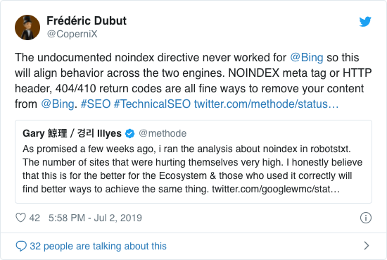 Tweet by Frédéric Dubut (@CoperniX) about Bing support fort he unofficial noindex directive.