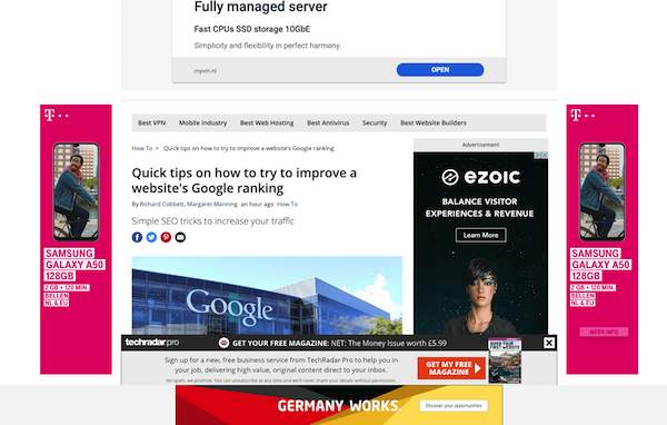 A screenshot of page filled with ads.