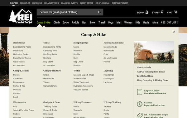 A screenshot of REI's main navigation.