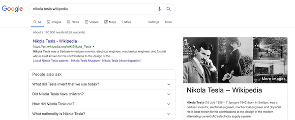 "A screenshot of the search results for the query ""nikola tesla wikipedia""."