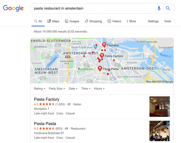 "A screenshot of the search results for the query ""pasta restaurant in amsterdam""."