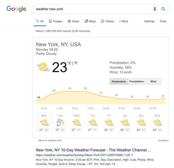 "A screenshot of the search results for the query ""weather new york"""