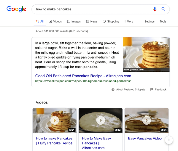 "A screenshot of the search results for the query ""how to make pancakes"""