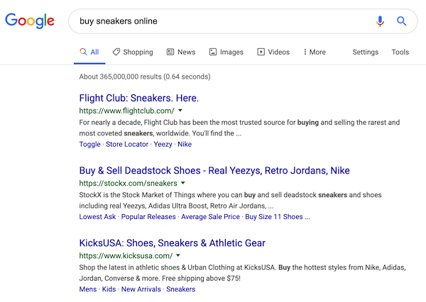 "A screenshot of the search results for the query ""buy sneakers online""."