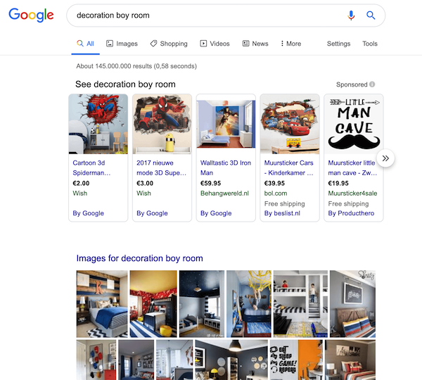 "A screenshot of the search results for the query ""decoration boy room""."