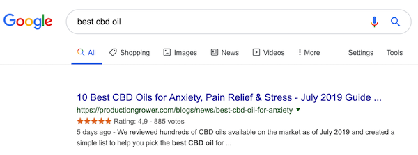 "A screenshot of a SERP snippet for the query ""best cbd oil""."