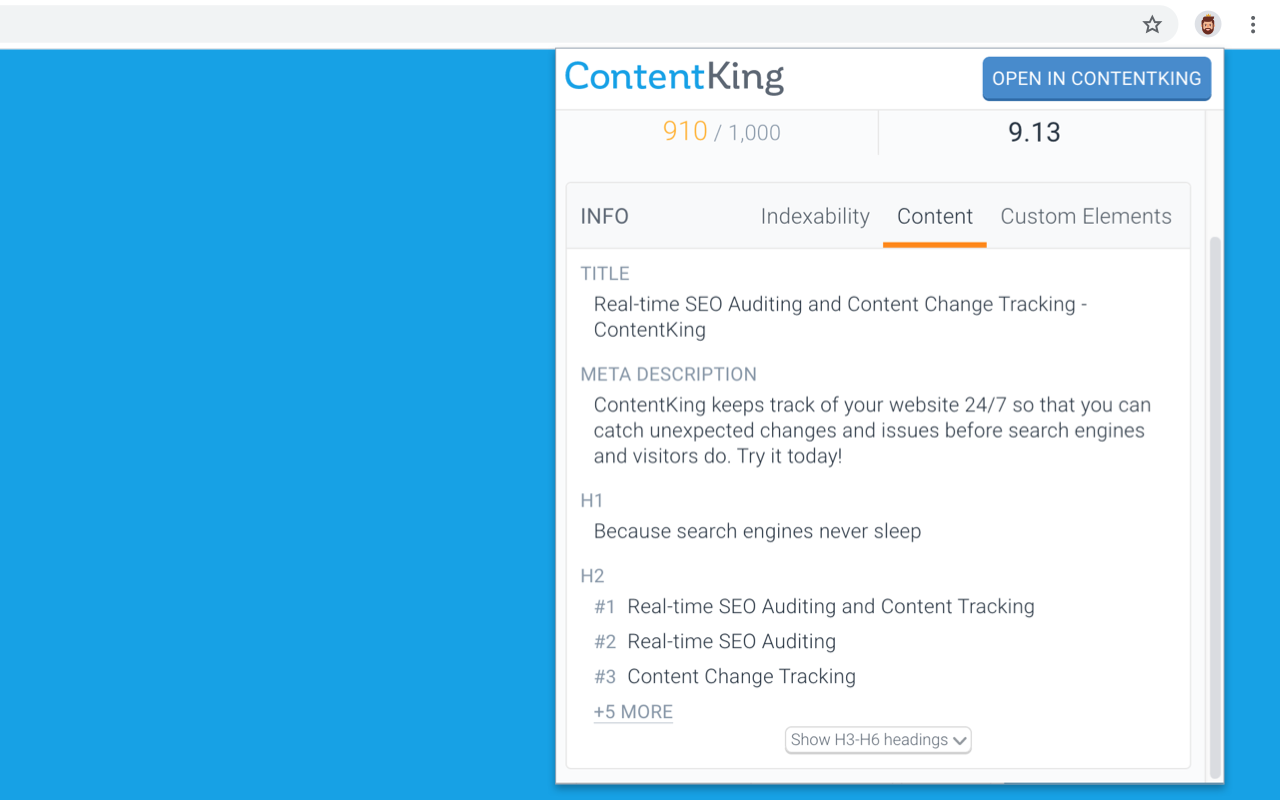ContentKing browser extension showing content data about a page directly in user's browser