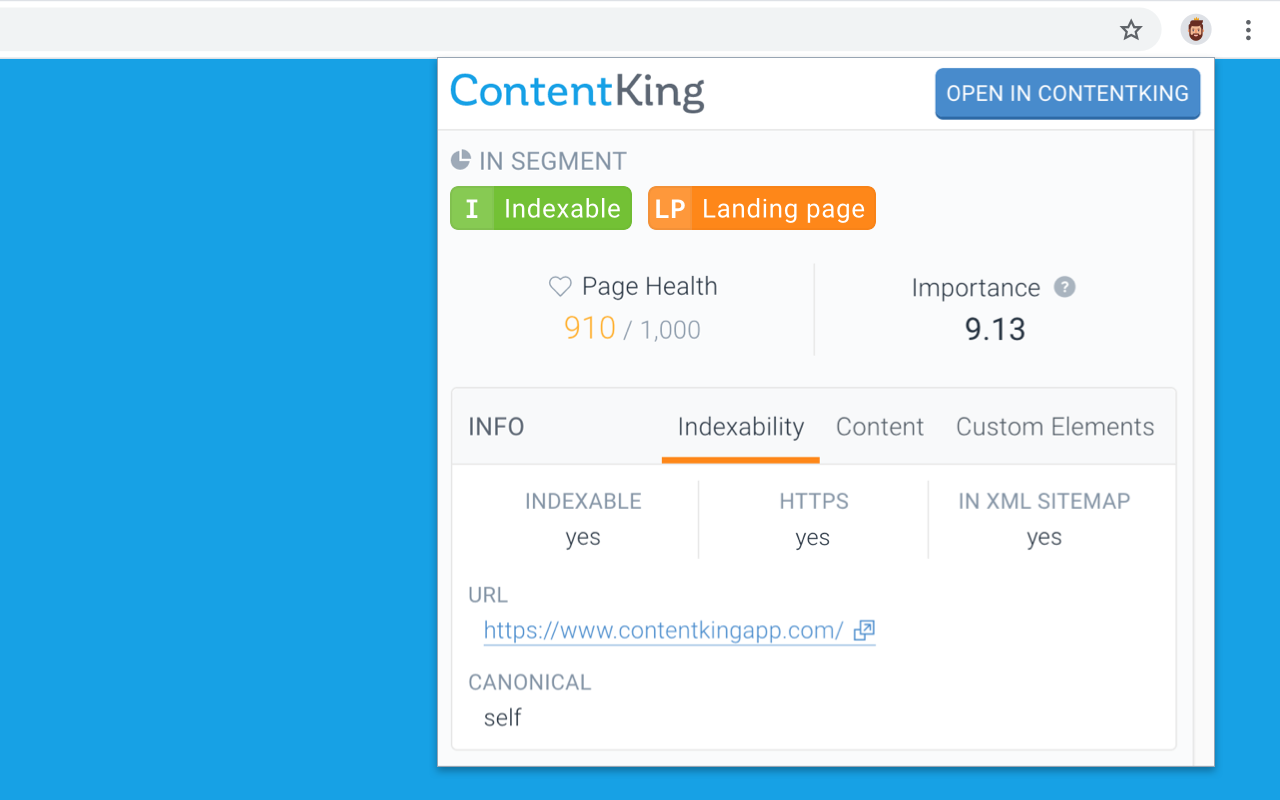 ContentKing browser extension showing indexability data about a page directly in user's browser