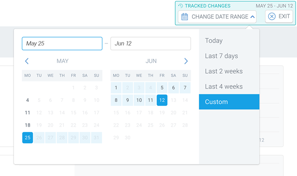 Screenshot of a calendar that allows the user to set a date range for the issue changes in ContentKing