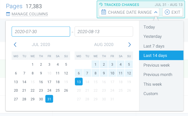 Screenshot of the date range selector for the tracked changes in ContentKing