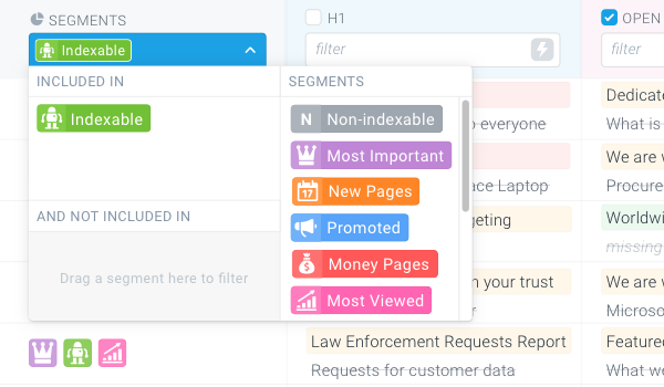 Screenshot of the Segments filter on the Page Change Tracking screen used to narrow down the result set